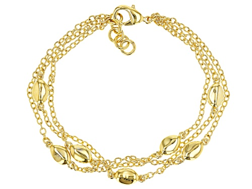 Photo of Pre-Owned MODA AL MASSIMO(R) 18K YELLOW GOLD OVER BRONZE STATION BRACELET - Size 8.5