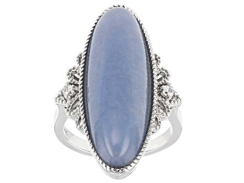 Photo of Pre-Owned 30x10mm Oval Blue Angelite And .07ctw Zircon Rhodium Over Sterling Silver Ring - Size 8