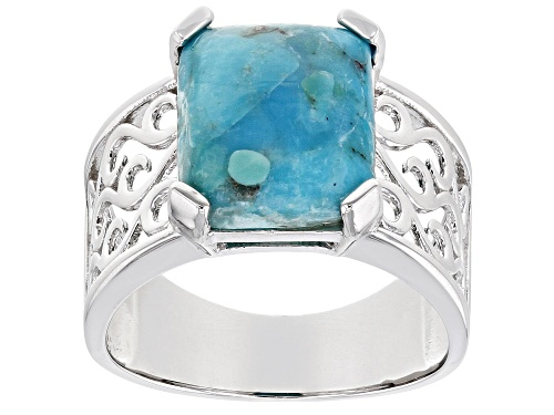 Photo of Pre-Owned 12x10mm Rectangular Octagonal Turquoise Cabochon Rhodium Over Sterling Silver Ring - Size 8