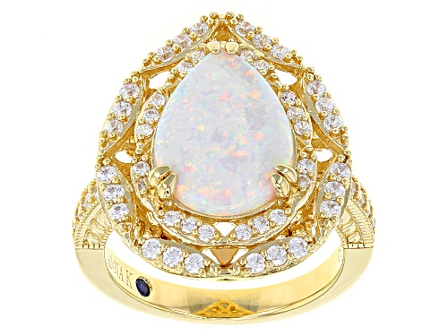 Photo of Pre-Owned Vanna K ™ For Bella Luce ® 2.66ctw White Opal & White Diamond Simulnts Eterno ™ Yellow Rin - Size 10