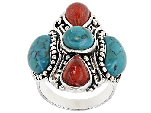 Photo of Pre-Owned Southwest Style By JTV™ Turquoise and Coral Rhodium Over Sterling Silver 5-Stone Ring - Size 8