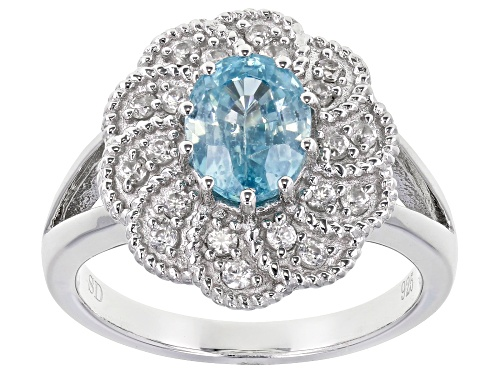 Photo of Pre-Owned 1.85ct Blue Zircon and 0.44ctw White Zircon Rhodium Over Sterling Silver Ring - Size 7