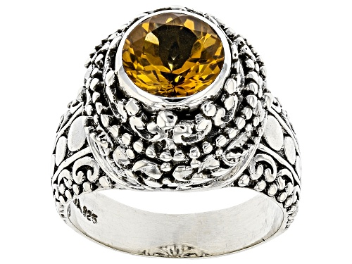 Photo of Pre-Owned Artisan Collection Of Bali™ 1.51ct Round Citrine Sterling Silver Solitaire Ring - Size 7