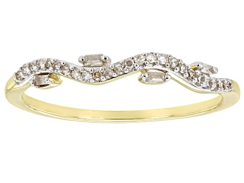Photo of Pre-Owned 0.10ctw Round And Baguette White Diamond 10k Yellow Gold Band Ring - Size 6