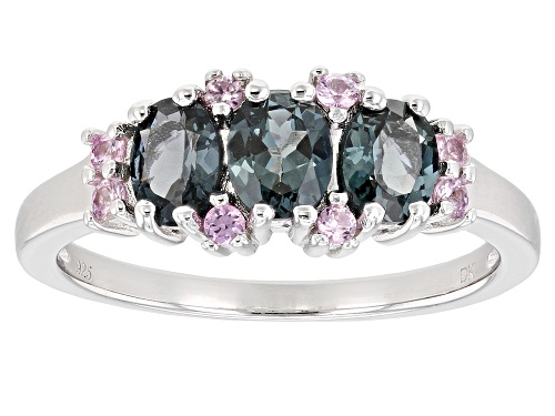 Photo of Pre-Owned .87ctw Oval Platinum Color Spinel With .20ctw Round Pink Sapphire Rhodium Over Silver Band - Size 6