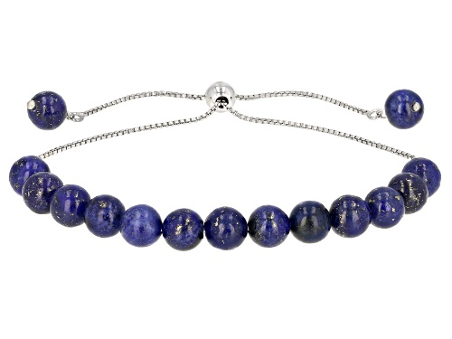 Photo of Pre-Owned 6mm Round Lapis Lazuli Beads, Rhodium Over Sterling Silver Bolo Bracelet Adjusts Approxima - Size 8