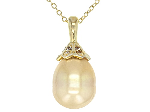 Photo of Pre-Owned 10mm Golden Cultured South Sea Pearl & Moissanite Fire® 0.12ctw DEW 18k Gold Over Silver P