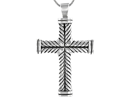 Photo of Pre-Owned Sterling Silver Cross Pendant With 20 Inch Popcorn Chain