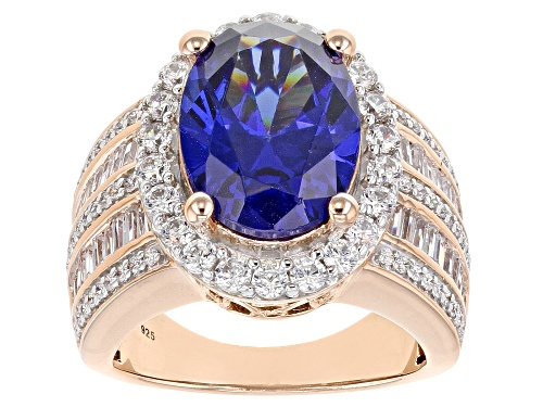 Photo of Pre-Owned Bella Luce® Esotica™ 12.25ctw Tanzanite and White Diamond Simulants Eterno™ Rose Ring - Size 6