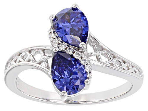Photo of Pre-Owned Bella Luce® 2.56ctw Esotica™ Tanzanite and White Diamond Simulants Rhodium Over Sterling R - Size 8