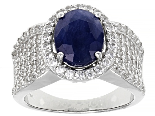 Photo of Pre-Owned 2.25ct Blue Sapphire with 1.50ctw Round White Zircon Rhodium Over Sterling Silver Ring - Size 7