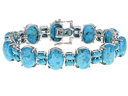 Photo of Pre-Owned 14x10mm & 6x4mm Oval Cabochon Turquoise Rhodium Over Sterling Silver Bracelet - Size 8
