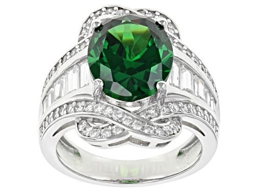 Photo of Pre-Owned Bella Luce ® Emerald and White Diamond Simulants Rhodium Over Sterling Silver Ring 10.54ct - Size 9