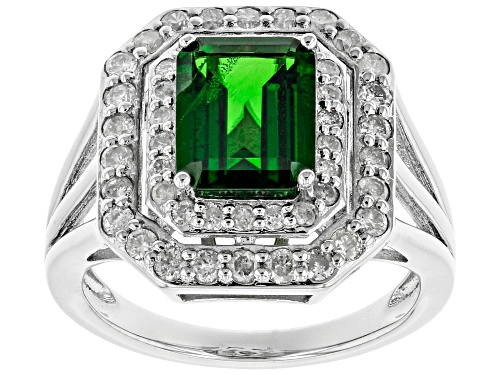 Photo of Pre-Owned 1.87ct Emerald Cut Russian Chrome Diopside With .74ctw Round White Diamonds Rhodium Over S - Size 7
