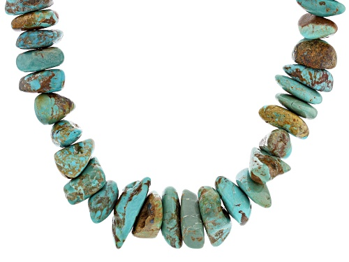 Photo of Pre-Owned Southwest Style By JTV™ Mixed Shaped Free form Turquoise Rhodium Over Silver Necklace - Size 18