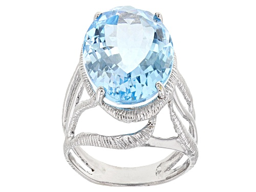Photo of Pre-Owned 15.00ct Sky Blue Topaz Rhodium Over Sterling Silver Solitaire Ring - Size 9