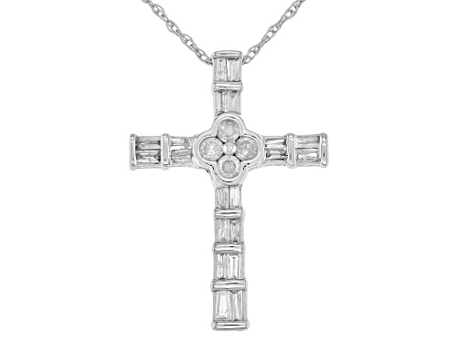 "Photo of Pre-Owned 0.25ctw Baguette and Round White Diamond 10k White Gold Cross Slide Pendant With 18"" Rope"