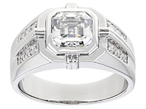 Photo of Pre-Owned MOISSANITE FIRE(R) 3.28CTW DEW OCTAGONAL ASSCHER CUT AND ROUND PLATINEVE(R) MENS RING - Size 10