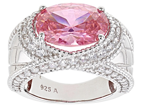 Photo of Pre-Owned Bella Luce ® 9.45ctw Pink And White Diamond Simulants Rhodium Over Sterling Silver Ring - Size 8