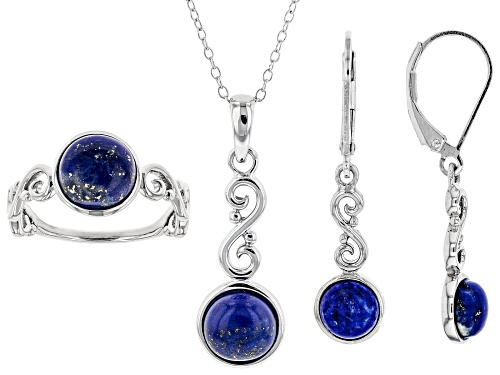 Photo of Pre-Owned 8mm and 6mm Round Lapis Lazuli Rhodium Over Sterling Silver Ring, Earrings & Pendant with