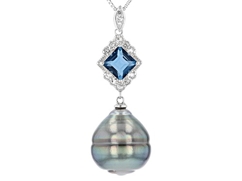 Photo of Pre-Owned 14mm Cultured Tahitian Pearl & Blue and White Topaz Rhodium Over Silver Pendant With Chain
