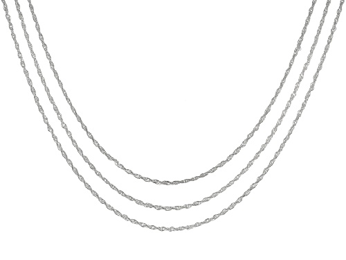 Photo of Pre-Owned Sterling Silver Sliding Adjustable 1mm Rope Link 24 Inch Chain Necklace Set Of Three - Size 24