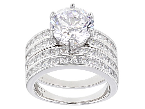 Photo of Pre-Owned Bella Luce® 9.25ctw Rhodium Over Sterling Silver Ring With Band - Size 6
