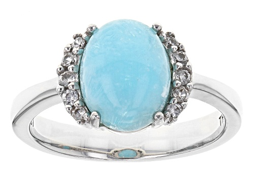 Photo of Pre-Owned 2.76ct Oval Hemimorphite With .13ctw Round White Zircon Sterling Silver Ring - Size 7