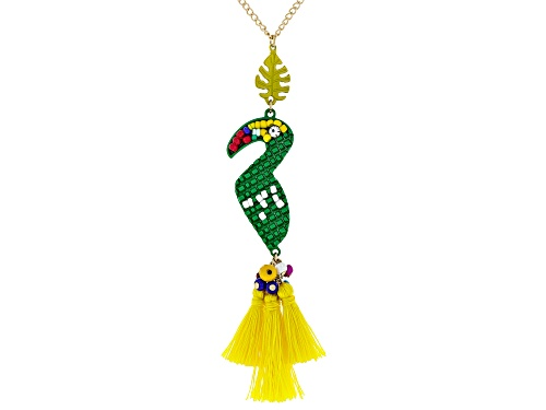 Photo of Pre-Owned Paula Deen Jewelry Mixed Shape & Color Beads, Yellow Fabric, White Crystal Gold Tone Macaw - Size 32