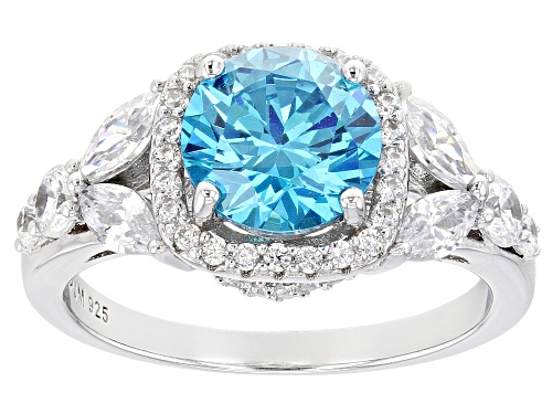 Photo of Pre-Owned Bella Luce ® Neon Apatite and White Diamond Simulants Rhodium Over Sterling Silver Ring - Size 8