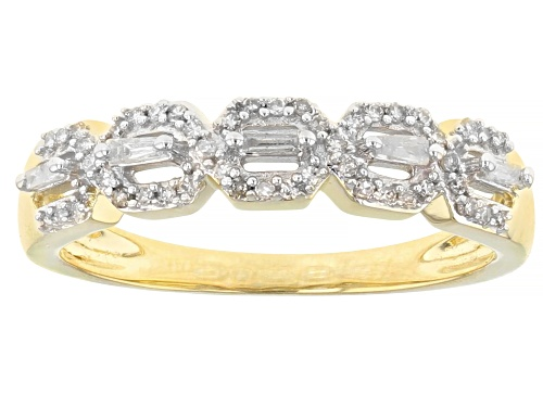 Photo of Pre-Owned 0.20ctw Round & Baguette White Diamond 10K Yellow Gold Band Ring - Size 5