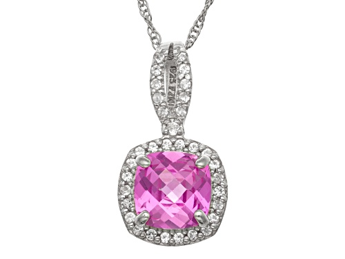 Photo of Pre-Owned Synthetic Pink And White Sapphire Sterling Silver Pendant With Chain 1.47ctw