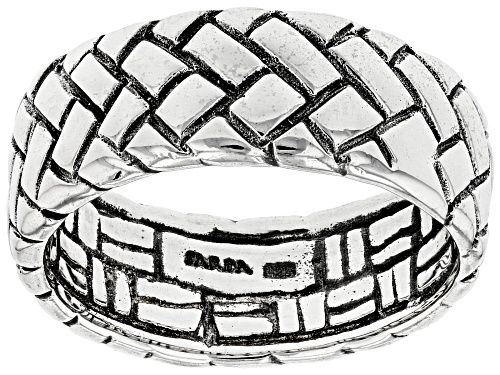 """Photo of Pre-Owned Artisan Collection Of Bali™ Silver """"Outweighs Them All"""" Basket Weave Design Band Ring - Size 7"""