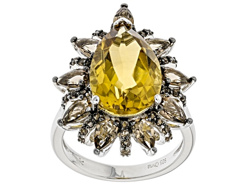 Photo of Pre-Owned 4.75ct Pear Shaped Citrine With 1.75ctw Smoky Quartz Rhodium Over Sterling Silver Ring - Size 10