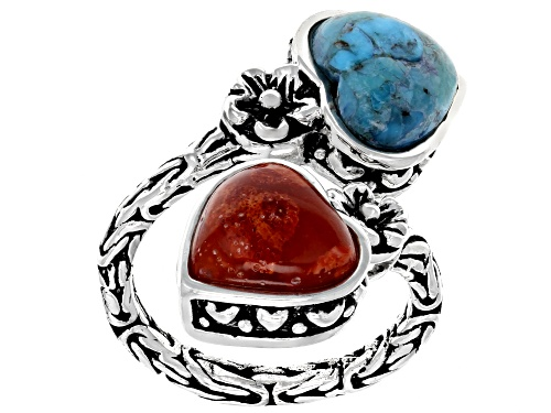 Photo of Pre-Owned 10.5x10mm Heart Shape Turquoise & Red Sponge Coral Sterling Silver 2-Stone Bypass Ring - Size 8