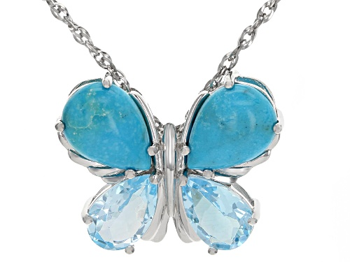 Photo of Pre-Owned 14x10mm Turquoise & 6.29ctw Glacier Topaz(TM) Rhodium Over Silver Butterfly Pendant W/Chai