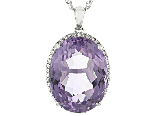 Photo of Pre-Owned 21.95ct Oval Rose de France Amethyst & .17ctw Topaz Rhodium Over Silver Halo pendant With