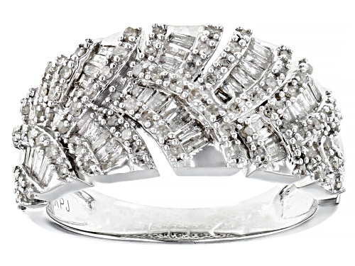 Photo of Pre-Owned 0.79ctw Baguette And Round White Diamond Rhodium Over Sterling Silver Band Ring - Size 8