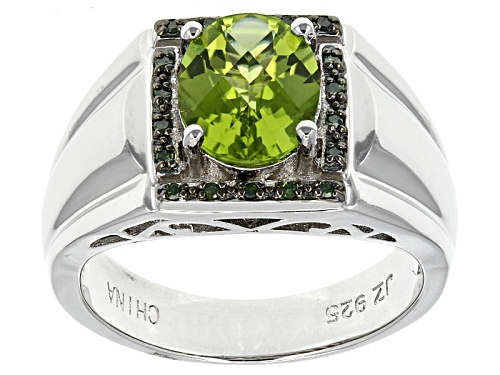 Photo of Pre-Owned 2.28ctw Oval Manchurian Peridot™ With .08ctw Round Green Diamond Accent Men's Silver Ring - Size 12