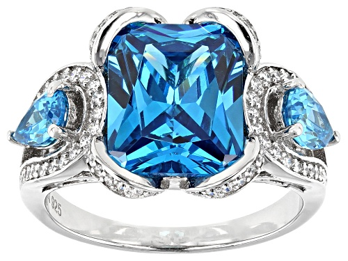 Photo of Pre-Owned Bella Luce ® Esotica ™ 8.32ctw Neon Apatite and White Diamond Simulants Rhodium Over Silve - Size 5