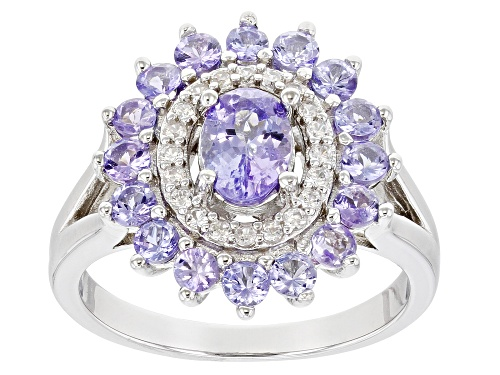 Photo of Pre-Owned .68ct Oval & 1.23ctw Round Tanzanite With .23ctw Zircon Rhodium Over Silver Halo Ring - Size 6