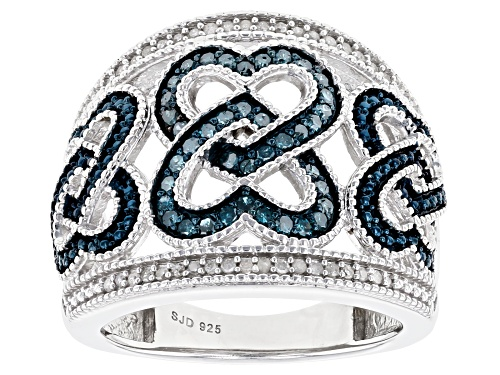 Photo of Pre-Owned 0.50ctw Round Blue Velvet Diamonds™ And White Diamond Rhodium Over Sterling Silver Heart B - Size 9