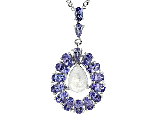 Photo of Pre-Owned 10x7MM RAINBOW MOONSTONE WITH 2.41CTW TANZANITE RHODIUM OVER STERLING SILVER PENDANT WITH