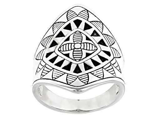 Pre-Owned Southwest Style By JTV™ Rhodium Over Sterling Silver Tribal Flower Ring - Size 7