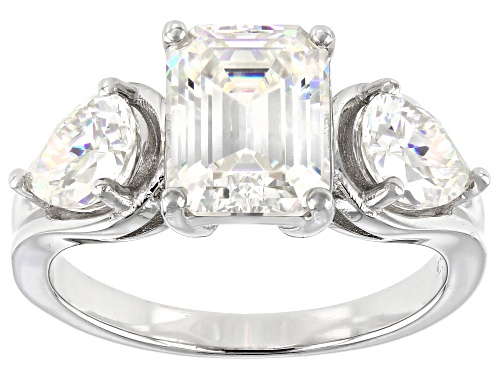 Photo of Pre-Owned 4.80CTW EMERALD CUT AND PEAR SHAPE FABULITE STRONTIUM TITANATE RHODIUM OVER SILVER RING - Size 6
