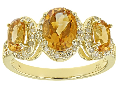 Photo of Pre-Owned 1.65ctw Oval Citrine With 0.25ctw Round Yellow Diamond 18k Yellow Gold Over Sterling Silve - Size 7