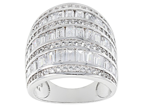 Photo of Pre-Owned Bella Luce ® 6.50ctw Baguette And Round Rhodium Over Sterling Silver Ring - Size 8