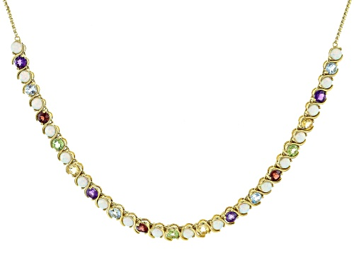 Pre-Owned 4.15ctw Multi Stone 18k Yellow Gold Over Sterling Silver Necklace - Size 26