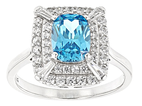 Photo of Pre-Owned Bella Luce® 4.10ctw Esotica™ Neon Apatite And White Diamond Simulants Rhodium Over Sterlin - Size 9