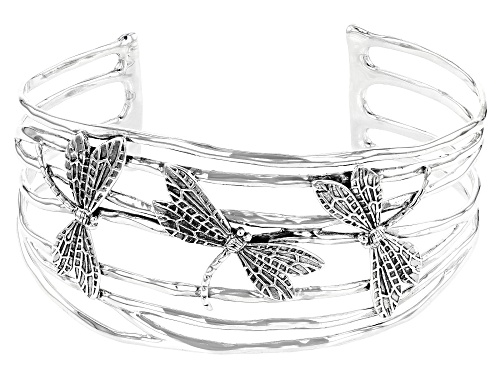 Photo of Pre-Owned Pacific Style™ Dragonfly Rhodium Over Sterling Silver Cuff Bracelet - Size 7.5